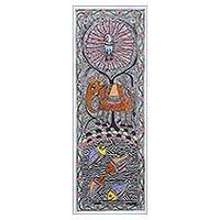 Madhubani painting, 'Living in Harmony III' - Signed Madhubani Painting with Animals from India