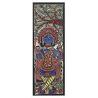 Madhubani painting, 'Krishna - The Musician' - Signed Madhubani Painting of a Hindu God from India