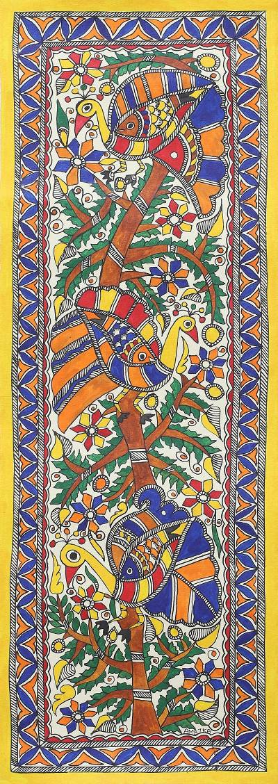 Signed Colorful Madhubani Peacock Painting from India
