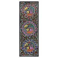 Madhubani painting, 'Happy Union' - Signed Madhubani Painting of Birds and Fish from India