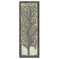 Madhubani painting, 'Tree of Life II' - Signed Madhubani Painting of a Tree from India