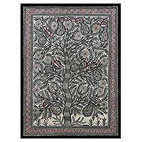 Madhubani painting, 'Tree of Life III' - Signed Madhubani Painting of Birds in a Tree from India