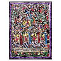 Madhubani painting, 'Mischievous Krishna' - Signed Hinduism-Themed Madhubani Painting from India
