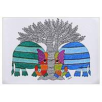 Gond painting, 'Lost Friend' - Traditional Gond Folk Art Painting of Two Elephants