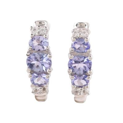 Rhodium Plated Tanzanite and Topaz Hoop Earrings from India
