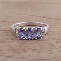 Rhodium plated tanzanite and topaz cocktail ring, 'Glistening Trio' - Rhodium Plated Tanzanite and Topaz Cocktail Ring from India
