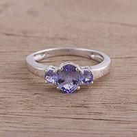 Rhodium plated tanzanite cocktail ring, 'Purple Glimmer' - Rhodium Plated Purple Tanzanite Cocktail Ring from India