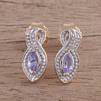 Gold accented tanzanite drop earrings, 'Beauty of India' - Gold Accent Tanzanite Drop Earrings from India