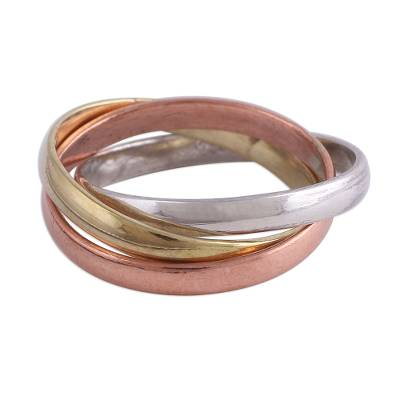Sterling silver, copper, and brass band ring, 'Classic Trio' - Sterling Silver Copper and Brass Band Ring from India