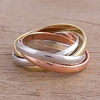 Stacking rings, 'Classic Quartet' (set of 4) - 4 Sterling Silver Copper and Brass Stacking Rings from India