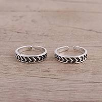 Sterling silver toe rings, 'Way To Relaxation' (pair) - Pair of Sterling Silver Toe Rings from India