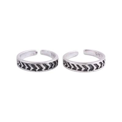 Pair of Sterling Silver Toe Rings from India