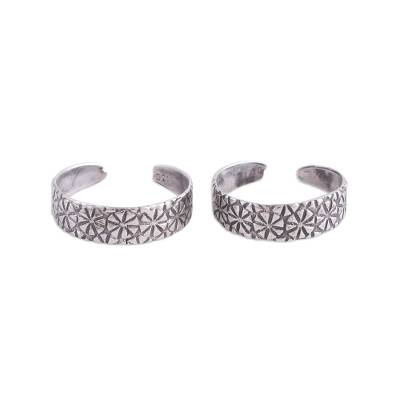 Pair of Floral Sterling Silver Toe Rings from India