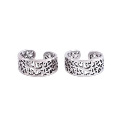 Sterling silver toe rings, 'Alluring Vines' (pair) - Artisan Crafted Sterling Silver Toe Rings (Pair) from India