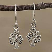 Sterling silver dangle earrings, 'Wishing Trees' - Handcrafted Sterling Silver Tree Dangle Earrings from India