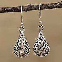 Sterling silver dangle earrings, 'Delhi Drops' - Handcrafted Sterling Silver Jali Dangle Earrings from India