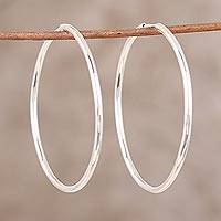 Sterling silver hoop earrings, 'Timeless Charm' - Handcrafted Polished Sterling Silver Endless Hoop Earrings