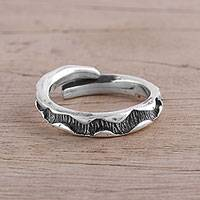 Sterling silver wrap ring, 'Zig Zag Corridor' - Handcrafted Sterling Silver Zig Zag Wrap Ring from India