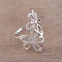 Sterling silver cocktail ring, 'Twin Floral Beauty' - Sterling Silver Floral Cocktail Ring from India