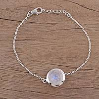 Rainbow moonstone pendant bracelet, 'Circular Shine' - Rainbow Moonstone and Sterling Silver Bracelet from India