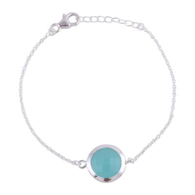 Chalcedony and Sterling Silver Pendant Bracelet from India