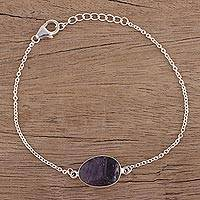 Amethyst pendant bracelet, 'Trendy Egg' - Amethyst and Sterling Silver Pendant Bracelet from India