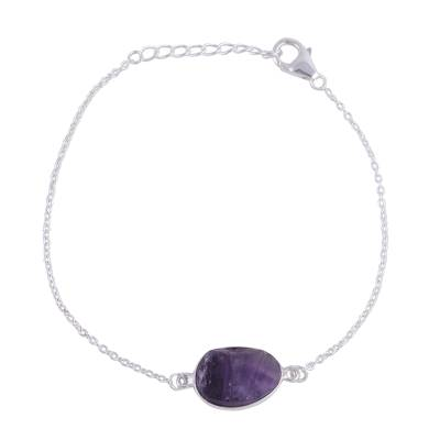 Amethyst and Sterling Silver Pendant Bracelet from India