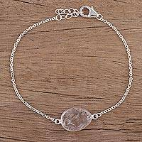 Quartz pendant bracelet, 'Trendy Egg' - Quartz and Sterling Silver Pendant Bracelet from India