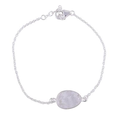 Quartz pendant bracelet, 'Trendy Egg' - Quartz and Sterling Silver Pendant Bracelet from India