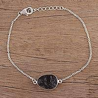 Smoky quartz pendant bracelet, 'Trendy Egg' - Smoky Quartz Egg-Shaped Pendant Bracelet from India