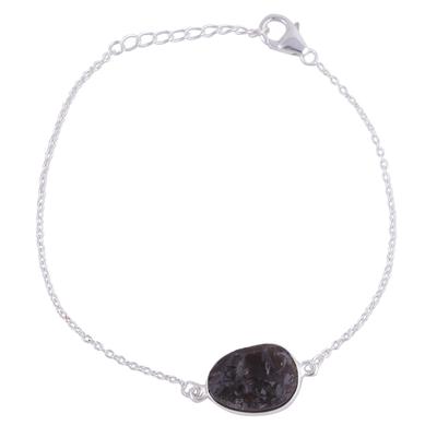 Smoky Quartz Egg-Shaped Pendant Bracelet from India