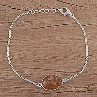 Citrine pendant bracelet, 'Trendy Egg' - Citrine and Sterling Silver Pendant Bracelet from India