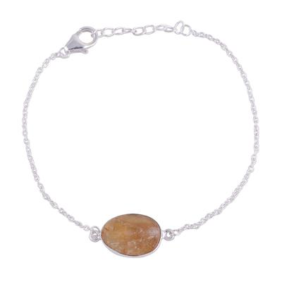 Citrine pendant bracelet, 'Trendy Egg' - Citrine and Sterling Silver Pendant Bracelet from India