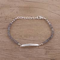 Labradorite pendant bracelet, 'Beauty Is Infinite' - Labradorite and Sterling Silver Pendant Bracelet from India