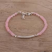 Rose quartz pendant bracelet, 'Beauty Is Infinite' - Rose Quartz Beaded Pendant Bracelet from India