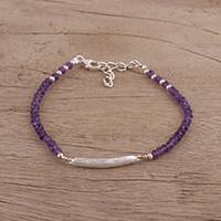 Amethyst pendant bracelet, 'Beauty Is Infinite' - Amethyst and Sterling Silver Pendant Bracelet from India