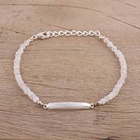 Rainbow moonstone beaded bracelet, 'Calming Beauty' - Rainbow Moonstone and Sterling Silver Beaded Bracelet
