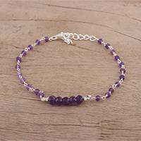Amethyst link bracelet, 'Luminous Purple' - Handcrafted Amethyst and Sterling Silver Link Bracelet