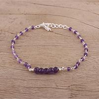 Amethyst link bracelet, 'Luminous Purple' - Handcrafted Amethyst and Sterling Silver Link Bracelet