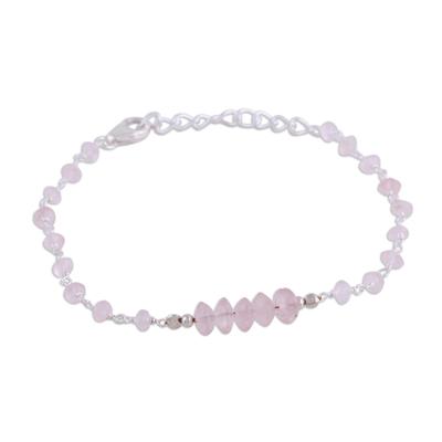 Rose quartz link bracelet, 'Luminous Pink' - Rose Quartz and Sterling Silver Link Bracelet from India