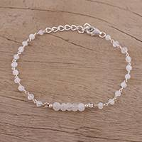 Rainbow moonstone link bracelet, 'Luminous White' - Rainbow Moonstone and Sterling Silver Link Bracelet