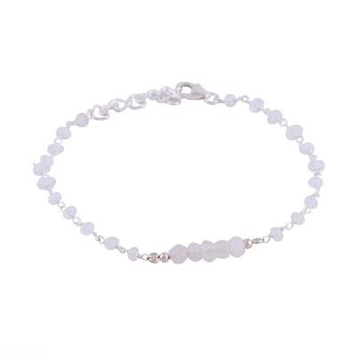 Rainbow Moonstone and Sterling Silver Link Bracelet