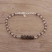 Smoky quartz link bracelet, 'Luminous Brown' - Handcrafted Smoky Quartz and Sterling Silver Link Bracelet