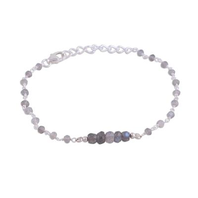 Labradorite link bracelet, 'Luminous Grey' - Labradorite and Sterling Silver Link Bracelet from India