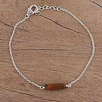 Tiger's eye pendant bracelet, 'Simply Refreshing' - Tiger's Eye and Sterling Silver Pendant Bracelet from India