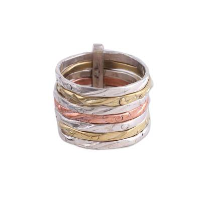 Mixed metal band ring, 'Classic Alliance' - Sterling Silver Copper and Brass Band Ring from India
