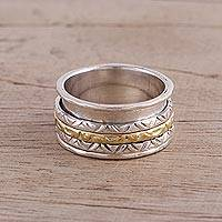 Sterling silver meditation spinner ring, 'Beautiful Rotation' - Sterling Silver and Brass Spinner Ring from India