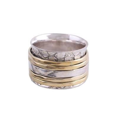 Sterling silver meditation spinner ring, 'Five Rotations' - Handmade Sterling Silver and Brass Spinner Ring from India