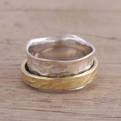 silver and diamond ring - Sterling Silver and Brass Meditation Ring from India