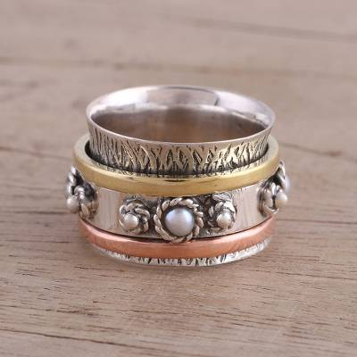 Cultured pearl meditation spinner ring, 'Spinning Blossom' - Handcrafted Sterling Silver Meditation Ring with Pearl